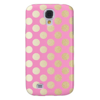 Faux Gold Polka Dots with Pink
