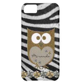 Faux Gold Rhinestone Bling Owl Zebra Personalized Cover For iPhone 5C