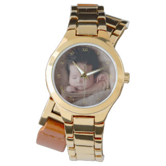 Faux Gold Roman Numerals & Custom Photo Watch