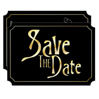 Faux Gold Save The Date & Black Card