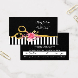 Faux Gold Scissors Pink Floral Salon Appointment Business Card