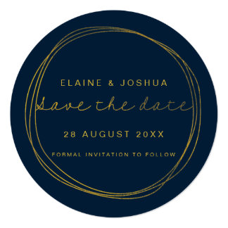 Faux Gold Scribble Circle Save the Date Card