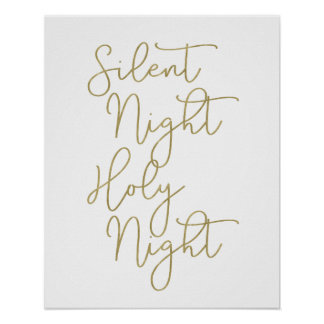 Faux Gold Script Typography | Silent Night Poster
