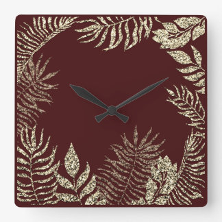 Faux Gold Sepia Burgundy Palm Botanical Glitter Square Wall Clock