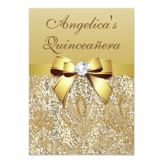 "Faux Gold Sequins and Bow Quinceañera 5"" X 7"" Invitation Card"