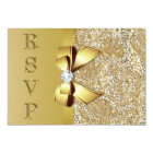Faux Gold Sequins Bow Diamond RSVP Card