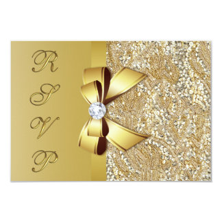 Faux Gold Sequins Bow RSVP Card