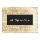 """Faux Gold Sequins Spa and Salon Gift Certificate 3.5"""" X 5"""" Invitation Card"""