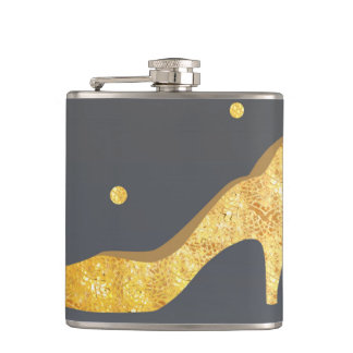 Faux gold shoe girly flask illustration gold dots