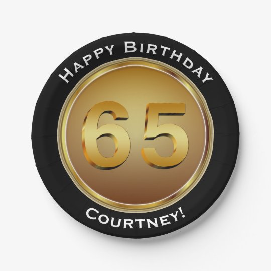 Faux Gold Sixty-fifth 65th Birthday with Name 7 Inch Paper Plate
