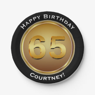 Faux Gold Sixty-fifth 65th Birthday with Name Paper Plate
