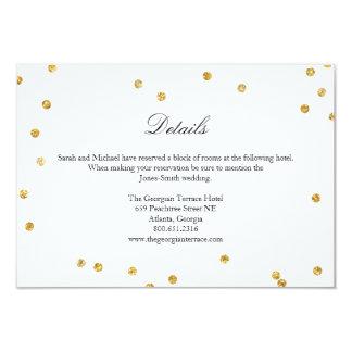 Faux Gold Sparkle Confetti Wedding Details Card