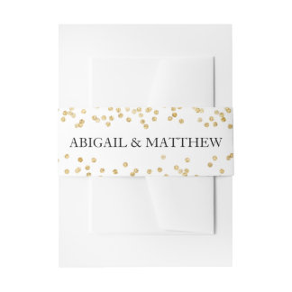 Faux Gold Sparkle Confetti Wedding In   Belly Band Invitation Belly Band