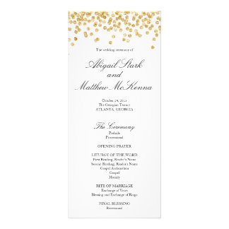 Faux Gold Sparkle Confetti Wedding Program