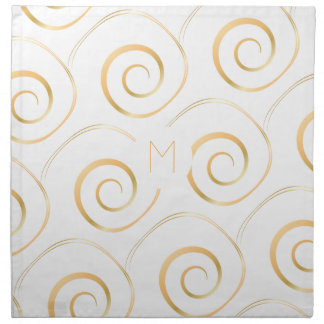 (Faux Gold) Spiral Monogram | Cloth Napkin