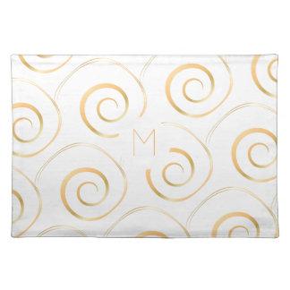 (Faux Gold) Spiral Monogram   Cloth Placemat