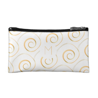 (Faux Gold) Spiral Monogram | Cosmetics Bag