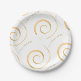 (Faux Gold) Spiral Monogram | Paper Plate