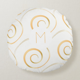 (Faux Gold) Spiral Monogram | Round Pillow