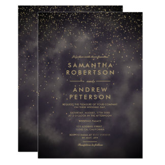 Faux gold stars grey batik watercolor wedding card