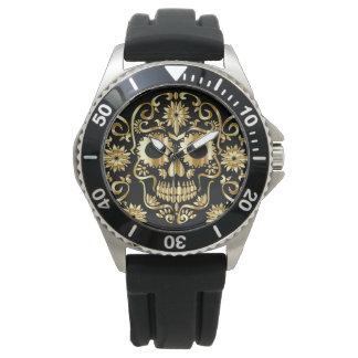 Faux Gold Sugar Skull Print Watch