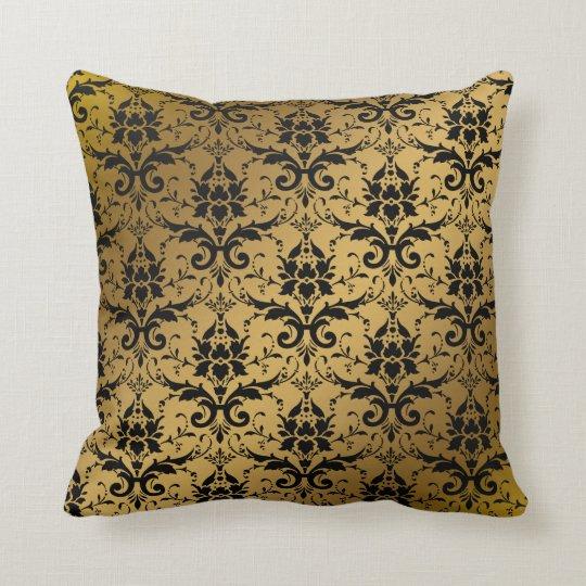 Faux Gold Texture Metallic Damask Pattern Elegant Throw Pillow