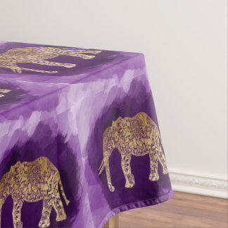 faux gold tribal elephant purple brushstroke tablecloth