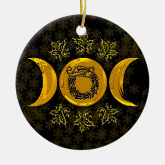 Faux Gold Triple Moon & Holly Wreath w/ Snowflakes Round Ceramic Ornament