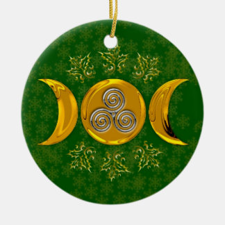 Faux Gold Triple Moon & Silver Triple Spiral-Holly Round Ceramic Ornament