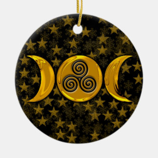Faux Gold Triple Moon & Stars Black Triple Spiral Round Ceramic Ornament