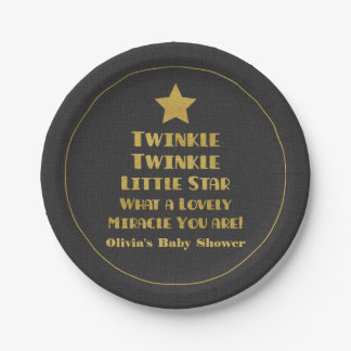 Faux Gold Twinkle Little Star Baby Shower Supplies Paper Plate