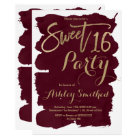 Faux gold typography burgundy watercolor Sweet 16 Card