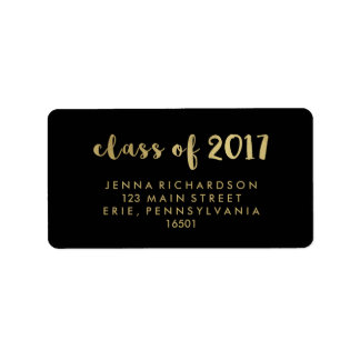 Faux Gold Typography Class of 2017 on Black Label