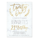 """Faux gold typography feathers marble 21st Birthday 5"""" X 7"""" Invitation Card"""