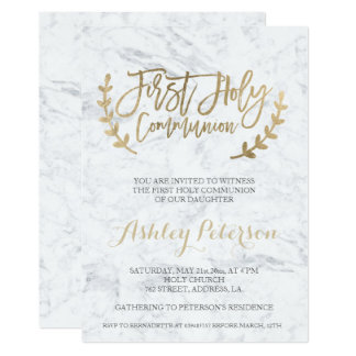 "Faux gold typography marble First Holy Communion 5"" X 7"" Invitation Card"