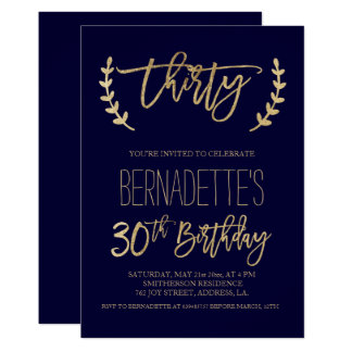 Faux gold typography navy blue 30th Birthday Card
