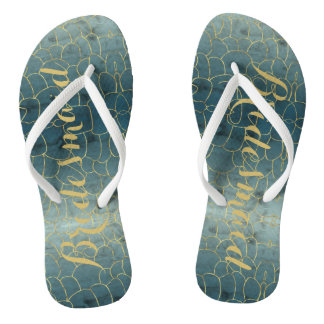 Faux Gold Under-the-Sea Bridesmaid Flip Flops