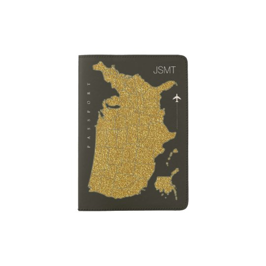faux gold USA map, american travel Passport Holder