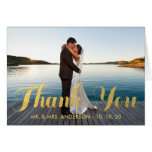 FAUX GOLD WEDDING THANK YOU WITH PHOTO NOTECARD CARD