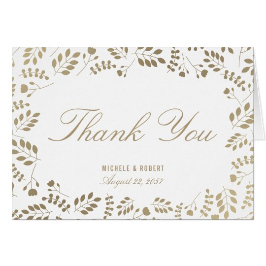 Faux Gold White Botanical Thank You Note Card