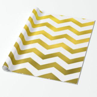 Faux Gold White Foil Chevron Zig Zag Striped Wrapping Paper