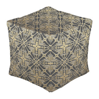 Faux Golden Metal Pattern poufs