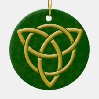 Faux Golden Tri-Quatra w/ Gold Snowflakes on Green Ceramic Ornament