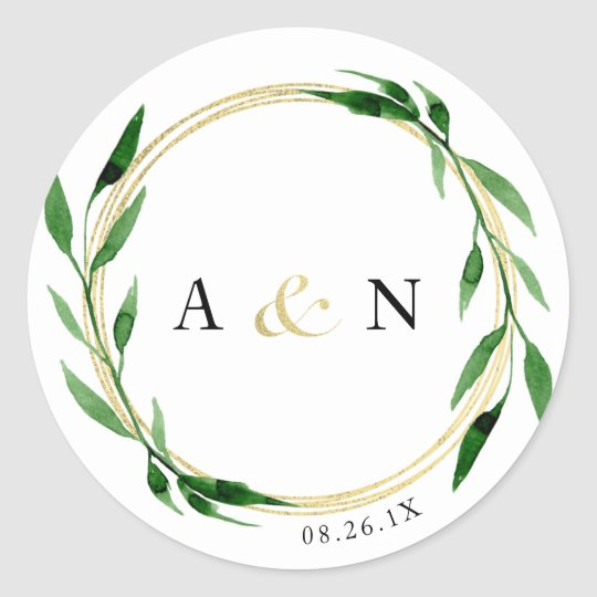Faux Golden Wreath Sticker, Favour Sticker