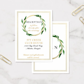 Faux Golden Wreath Wedding Reception Card