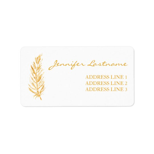 Faux Golden Yellow Colour Feather And Custom Info Label