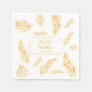 Faux Golden Yellow Feathers & Wedding Couple Names Paper Napkins