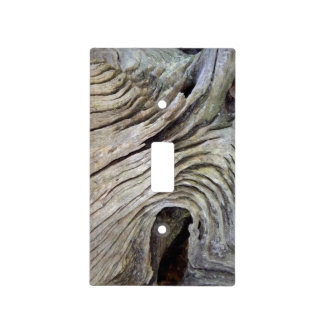 Faux Gray Knotty Wooden Tree Bark Light Switch Cover