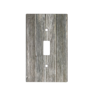 Faux Gray Wooden Board Light Switch Cover