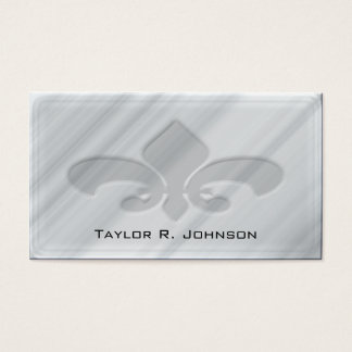Faux Grey Marble Fleur de Lis Business Card